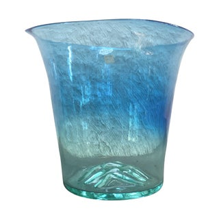 Don Shepherd Blenko Hand Blown Blue Glass Vase