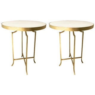 Aidan Gray Hollywood Regency Marble Topped Gold Leaf End Tables - a Pair
