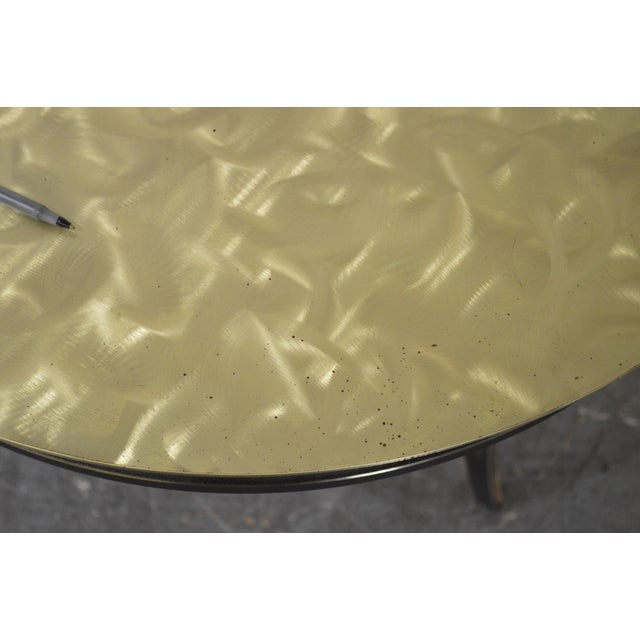 Image of Studio Custom Crafted Pair of Brushed Steel Gold Finish Round Side Tables