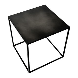 Blackened Steel Cube Side Table