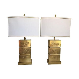 1960s Brass Bamboo Lamps W/Shades, Pair