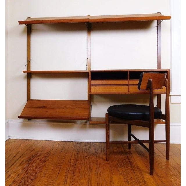 Danish Modern Teak Floating Adjustable Desk Wall Unit Bookcase by Carlo Jensen for Hundevad & Co - Image 8 of 9