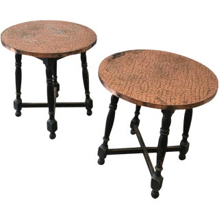 Scandinavian Antique Copper Top Side Tables - a Pair
