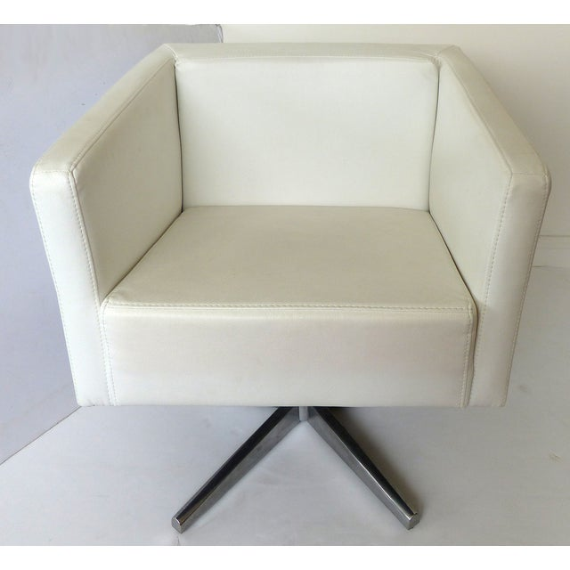 Image of Modernist White Leather Swivel Chairs - A Pair