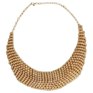 60s Rhinestone Bib Gold Statement Necklace