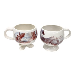 Unique Vintage His and Her Marble Painted Cup Set - a Pair