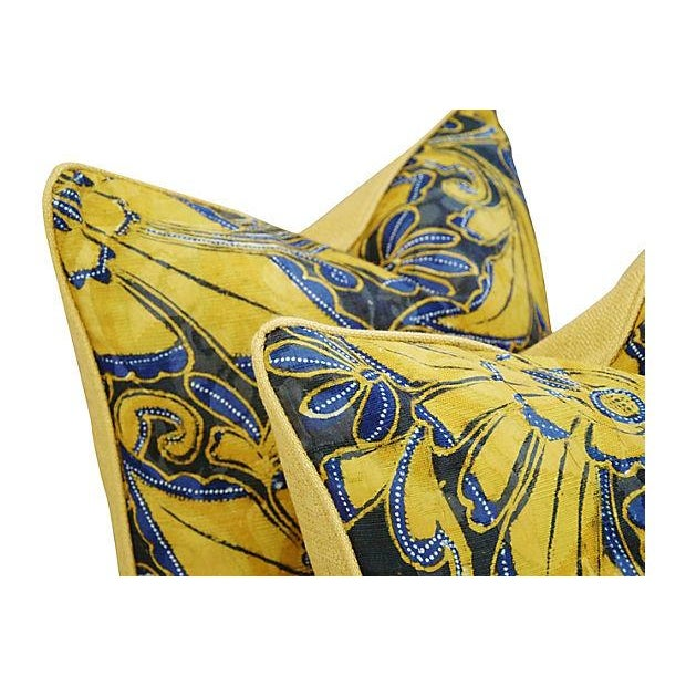 Scalamandre Blue & Gold Silk Pillows - A Pair - Image 4 of 7