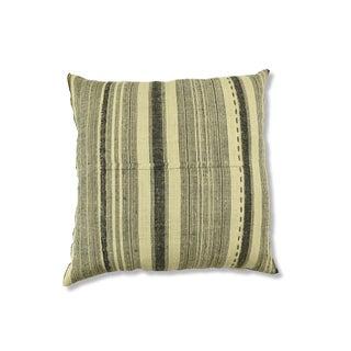 "Vintage Hemp Black & Cream French Stripe Pillow - 22"""