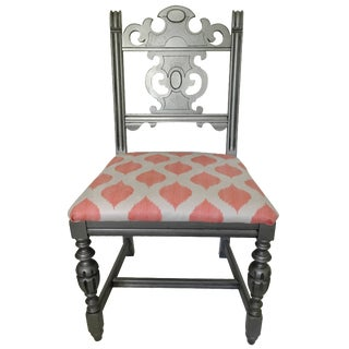 Coral & White Upholstered Silver Side Chair