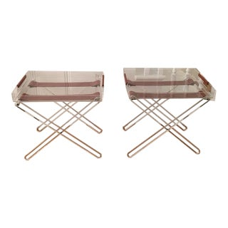 Plexiglass Side Tray Tables with Leather Accents - A Pair