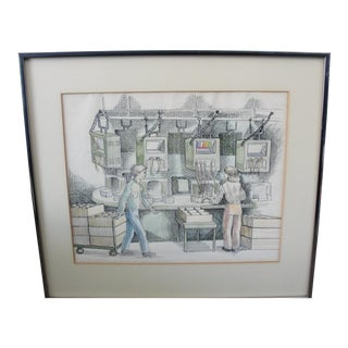 Vintage Industrial Drawing of Computer Lab