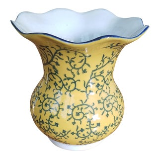 Yellow & Navy Chinese Vase