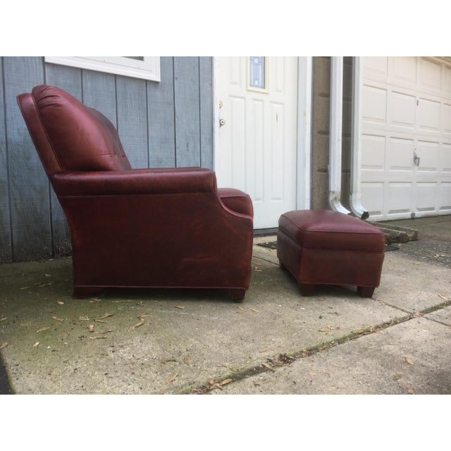 Art Deco Style Vintage Leather Chair & Ottoman - Image 4 of 9