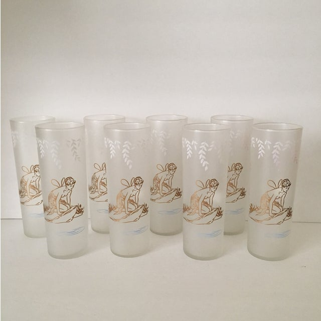 Image of Vintage 1940s Frosted Fairy Glasses - Set of 8