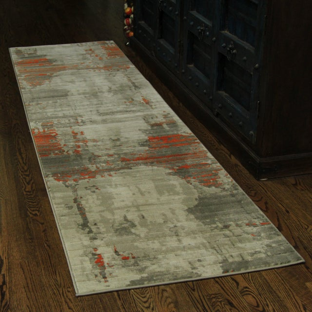 Contemporary Abstract Orange Rug - 2'8''x10' - Image 2 of 5