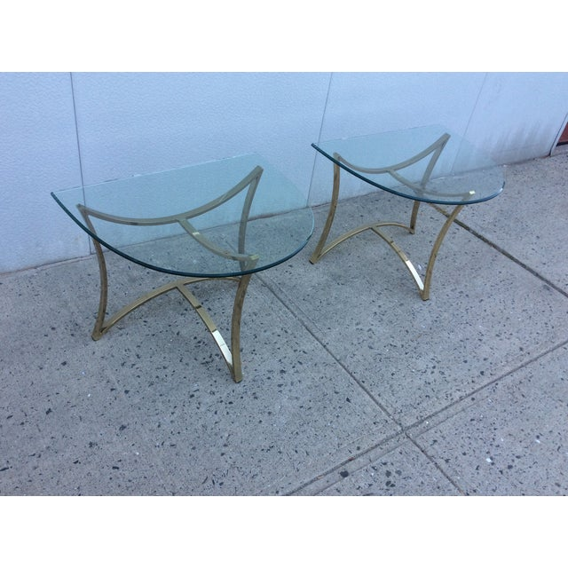 1970's Modern Demi Lune Brass Side Tables - Image 6 of 11