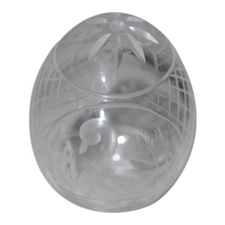 Vintage Faberge Cut Crystal Swan Motif Egg
