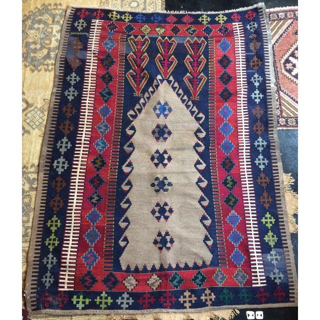 Vintage Turkish Prayer Kilim 4' X 6' - Image 2 of 8