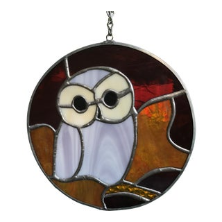 Hanging Stained Glass Owl