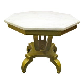 Vintage Gold & Marble Top Table