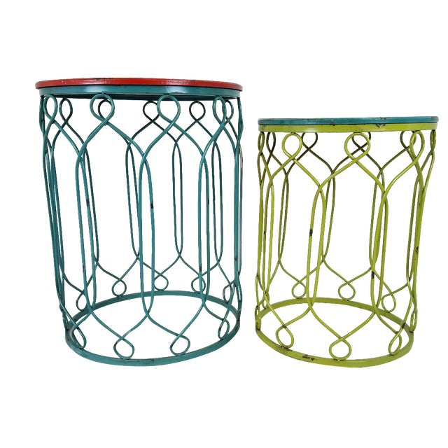 Distressed Metal Scroll Tables - Set of 2 - Image 1 of 4
