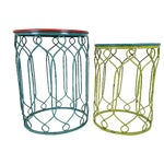 Image of Distressed Metal Scroll Tables - Set of 2