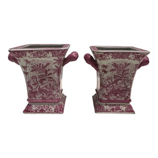 Pink & White Chinese Transferware Vases - A Pair