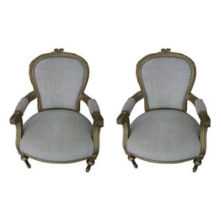 Gilded Gold Louis Arm Chairs - A Pair