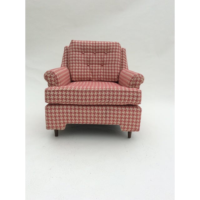 Image of Pink & Cream Houndstooth Mid-Century Club Chair