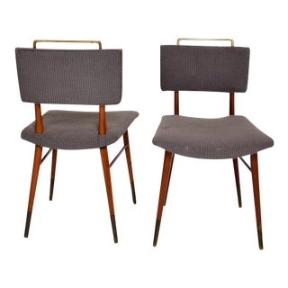 Mid-Century Modern Mahogany & Brass Dining Chairs Attributed to Arturo Pan