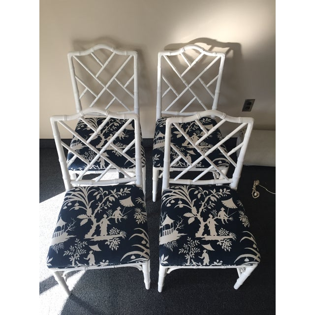 Image of Chippendale White Bamboo Chairs - Set of 4