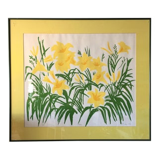 """Framed """"Lilies"""" Yellow Print"""