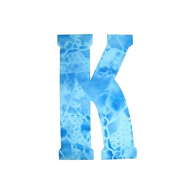 Image of Large Blue Metal Marquee Letter K