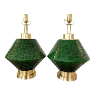 Vintage Green Mock-Croc Glass Table Lamps - A Pair