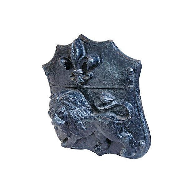 Image of Large Antique French Cast Iron Lion Relief Plaque