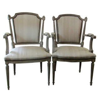 Gray Carved Wood Side Chairs - A Pair