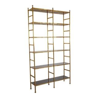 Original Billy Baldwin Tubular Brass Bookshelf with 12 Ebony Lacquered Shelves