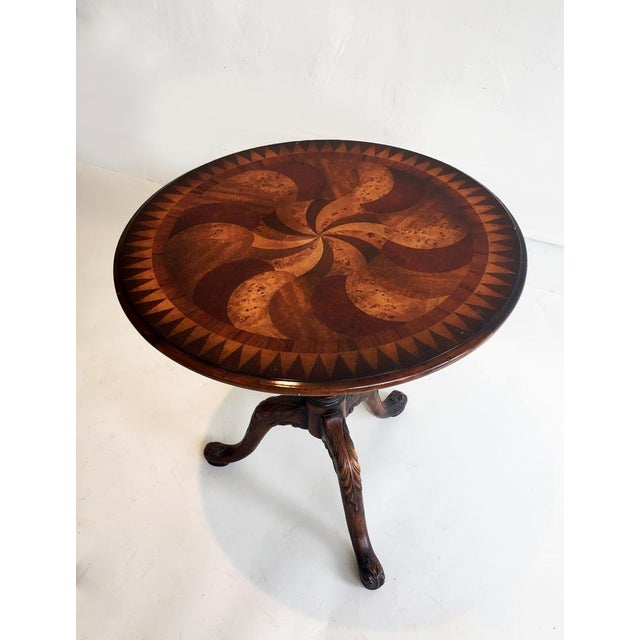 Wood Inlay Side Table - Image 2 of 4