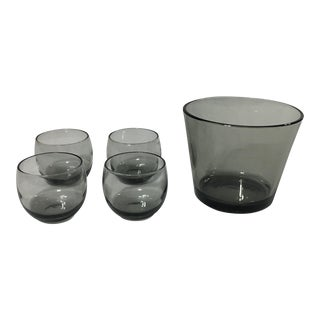 Smoked Roly Poly Glasses With Ice Bucket - 5 Pieces