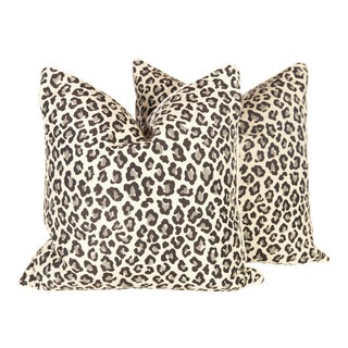 Black & Grey Leopard Pillows - A Pair