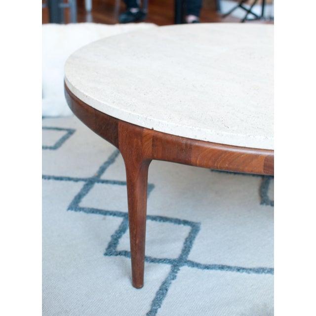 Vintage Travertine and Hardwood Coffee Table - Image 9 of 10