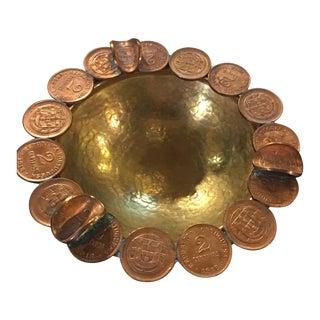 Vintage Brass Coin Bowl