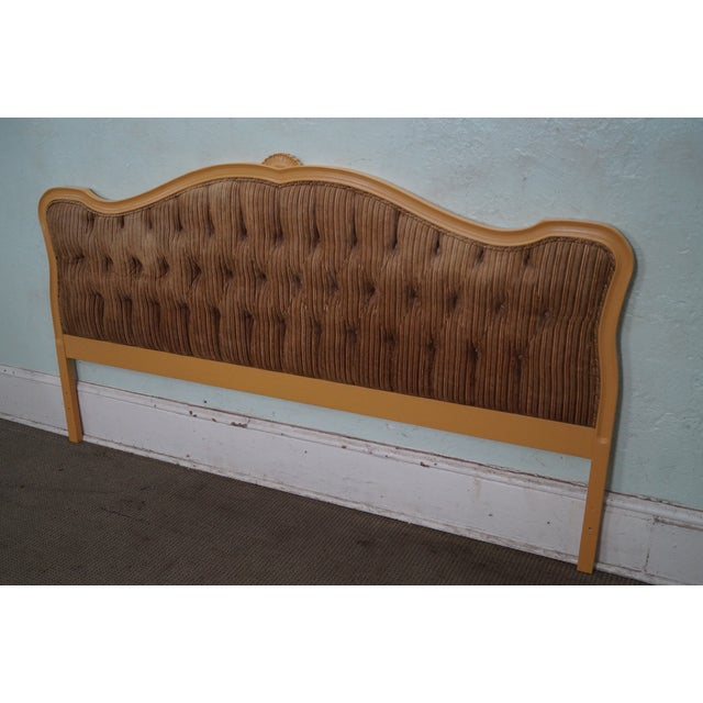 Vintage French Louis XV Style Tufted Upholstered King Headboard - Image 10 of 10
