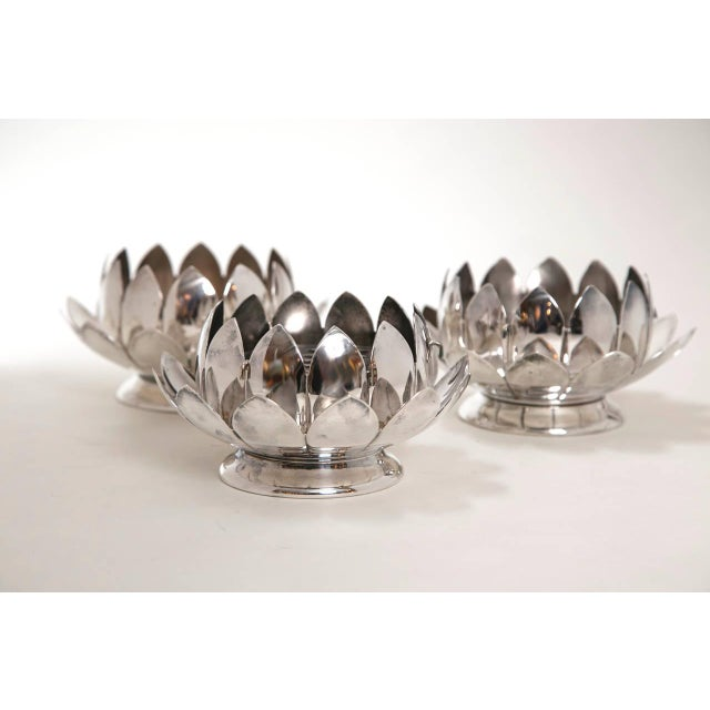 Mid-Century Silver Lotus Flower Holders by Reed and Barton - Image 3 of 8