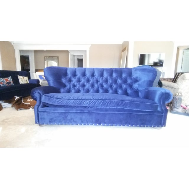 Restoration hardware churchill blue velvet sofa chairish for Restoration hardware churchill sofa