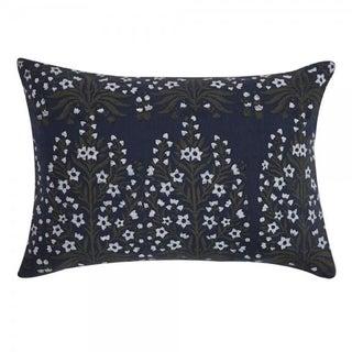 Dark Blue Block Print Linen Pillow