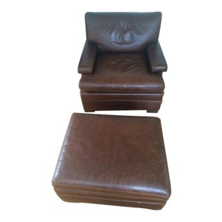Lee Industries Leather Chair & Ottoman