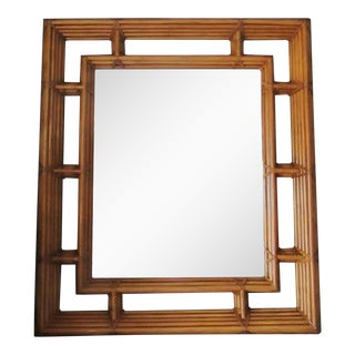 Large Henredon Double Framed Bamboo Mirror