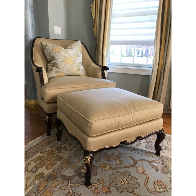 Century Furniture Chair & Ottoman With Floral Pillow - a Pair - Image 2 of 10