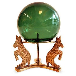 Emerald Glass Sphere on Brass Horses